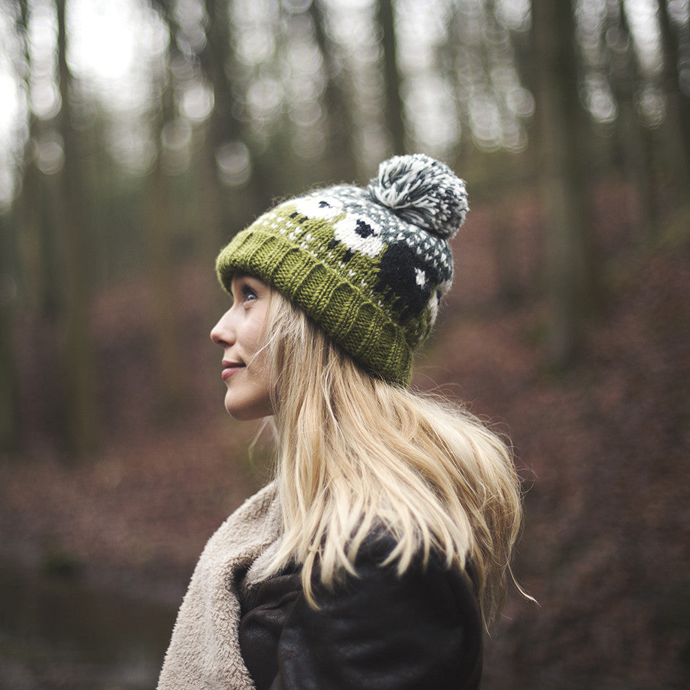 ... green baa sheep wool bobble hat ... 9c9fa0de2b7