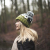 green baa sheep wool bobble hat