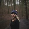 navy nordic knit wool headband