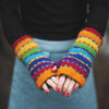 rainbow stripe wool hand warmers