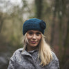 teal hand knitted wool headband