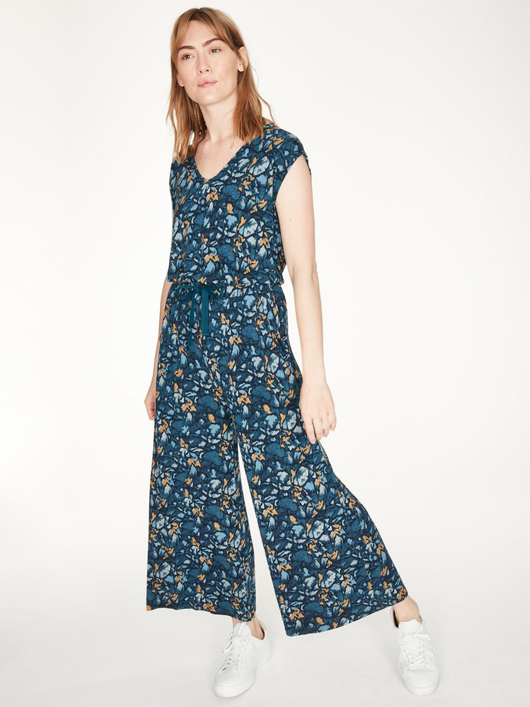 Atkins V-Neck Dashka Printed Jersey Jumpsuit