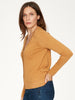 Amber Yellow Loren Organic Cotton V Neck Basic Cardigan