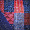 ajrakh gudri kantha stitch double cotton throw blue red patchwork
