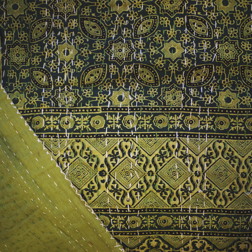 ajrak gudhri single cotton throw green diamond