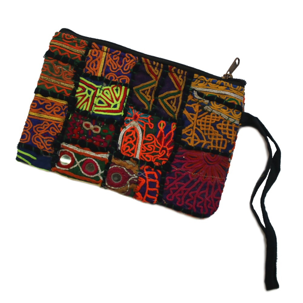 vintage Indian fabric zip clutch with strap