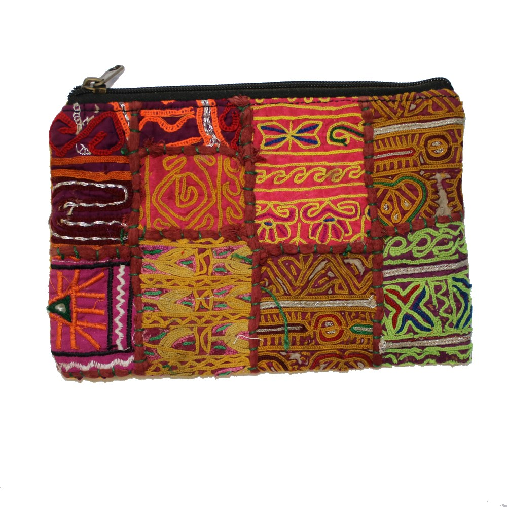 vintage Indian fabric zip clutch