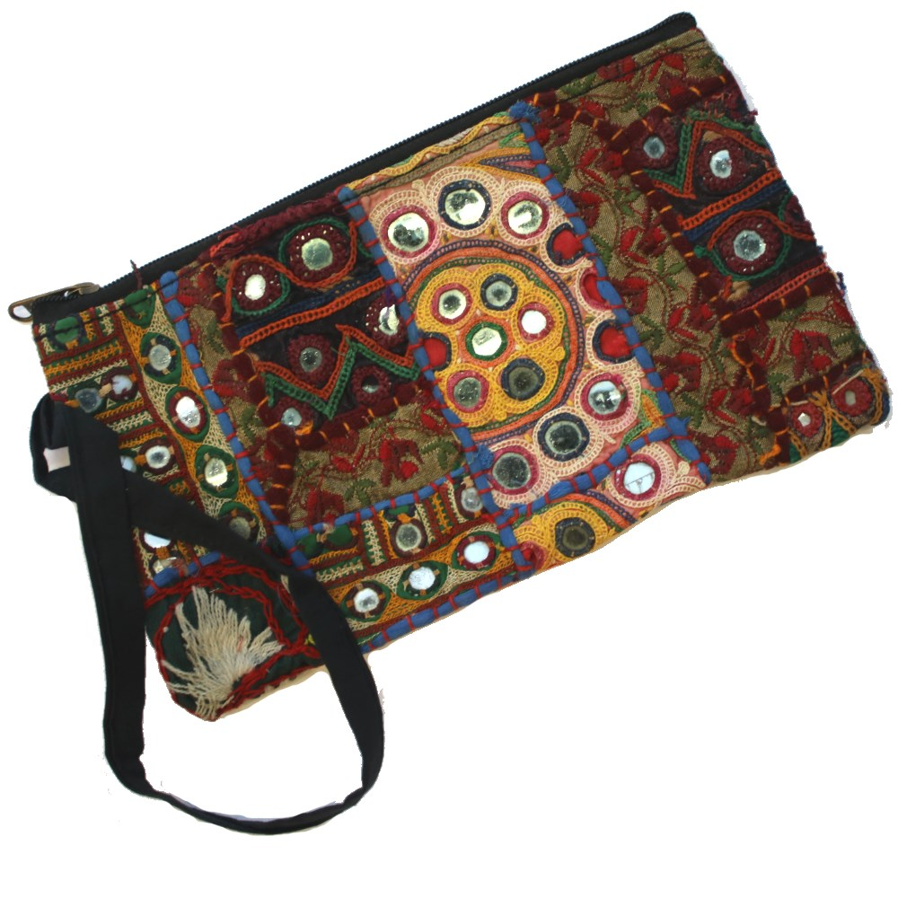 long vintage indian fabric zip clutch bag with wrist strap