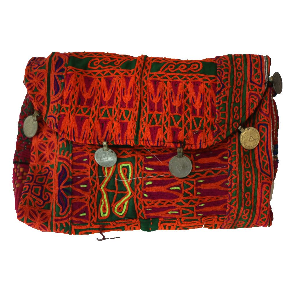 vintage india fabric bag front view