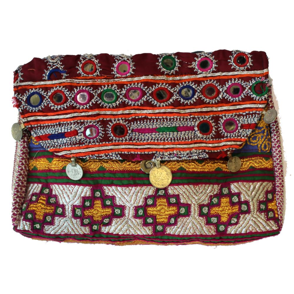 boho fabric handbag front view