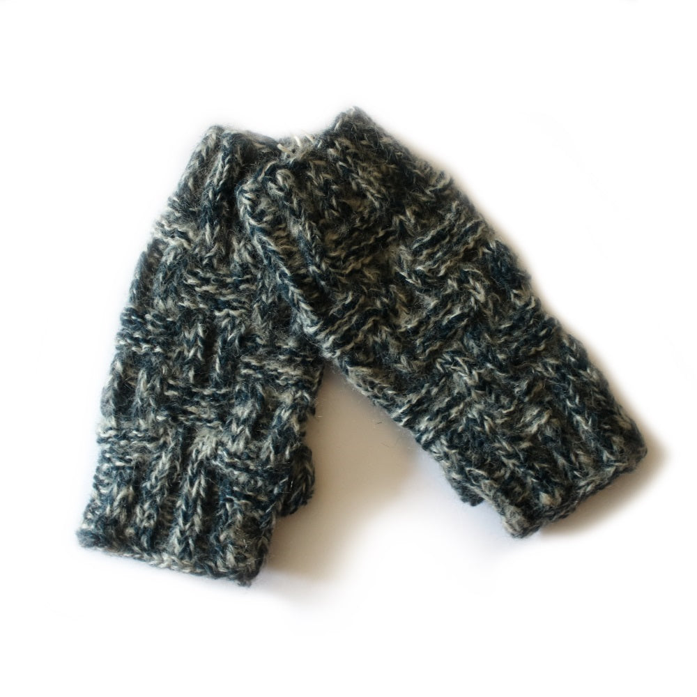criss cross cable knit wrist warmers in navy
