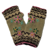 Flower Embroidered Knitted Wool Wrist Warmers