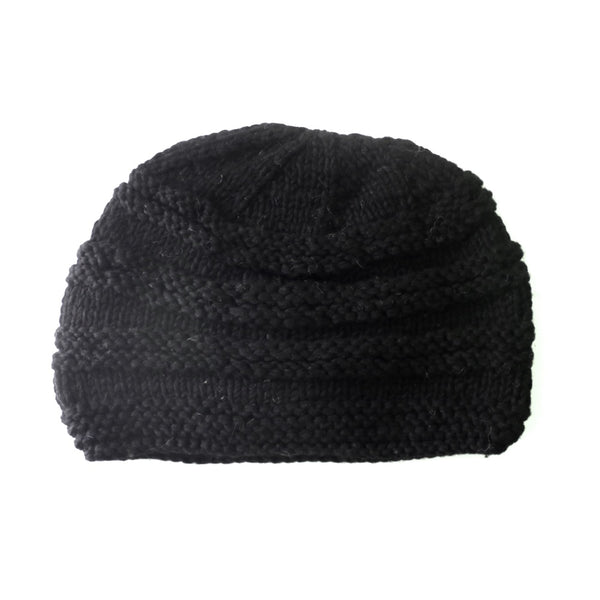 merino wool beanie hat rib knit in black