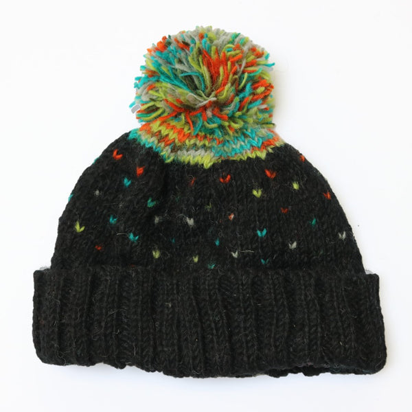 black multi colour fleck wool bobble hat