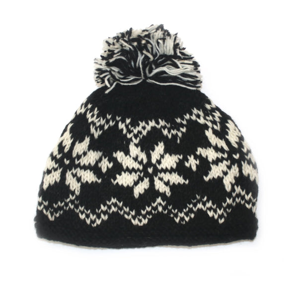 winter snowflake hat in black colour