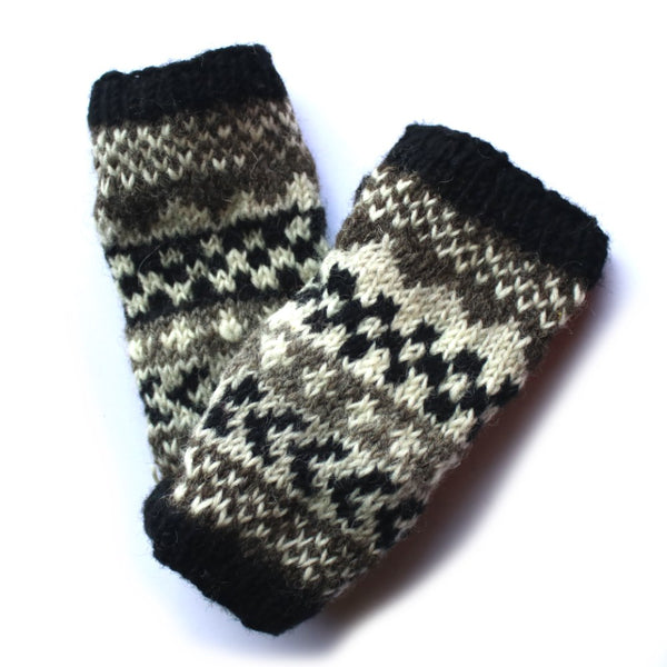 winter stripe wool wrist warmers
