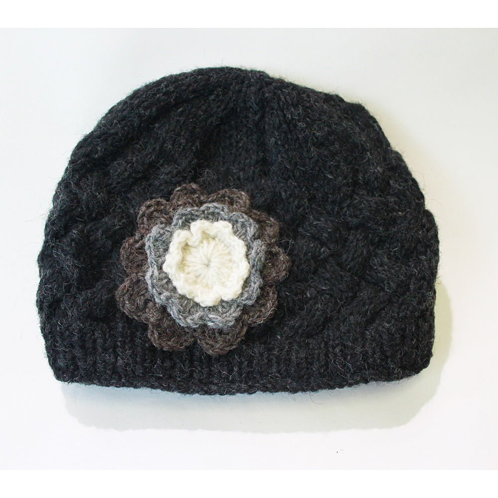 99f384e7350 ... teal cable knit wool beanie hat with large flower charcoal wool beanie  hat with flower detail ...