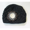 charcoal wool beanie hat with flower detail