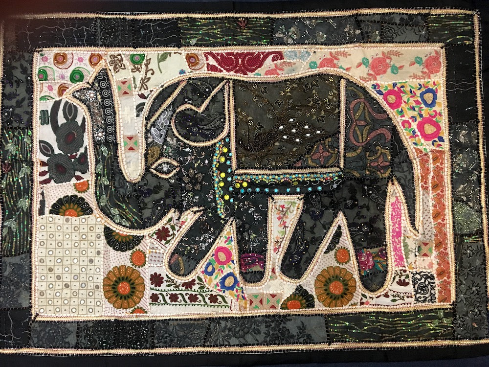 embroidered elephant wall hangings from india