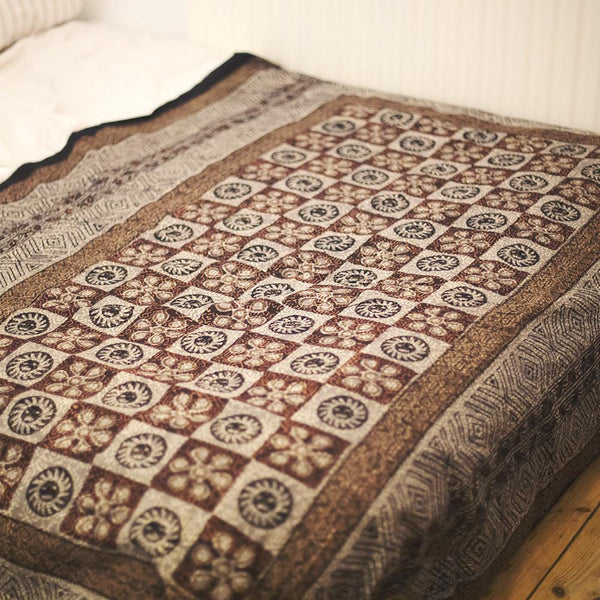 sourced from india block print checkerboard brown throw