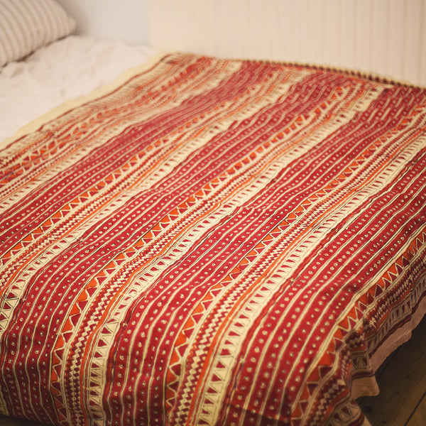 cotton indian single block print throw orange zig zag
