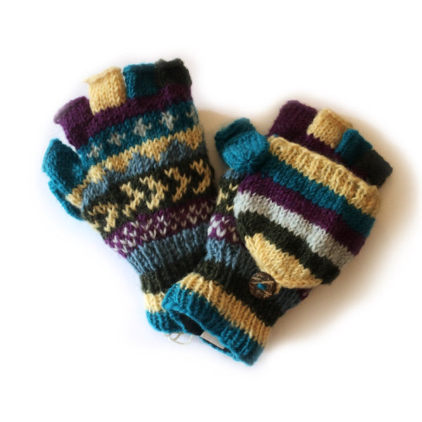 winter stripe fingerless gloves with mitten flap