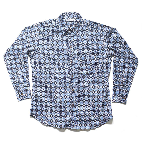 blue and black hand-printed men's shirt