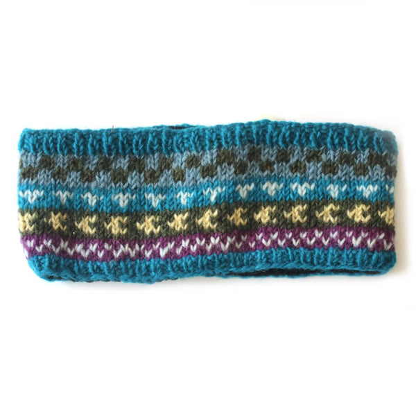 winter stripe wool headband in blue