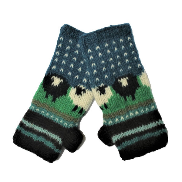 blue sheep design woolen wrist warmers