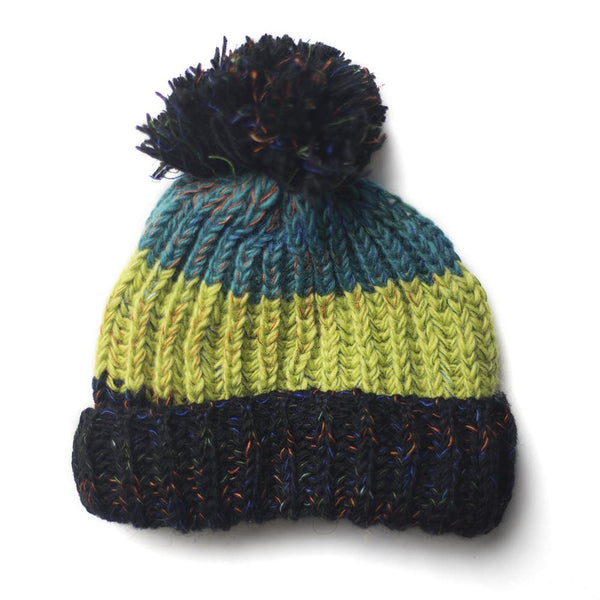 chunky knitted wool bobble hat for men and women in blues and greens