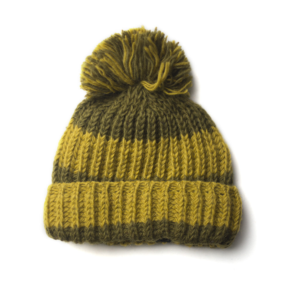 chunky olive green mustard yellow wool bobble hat
