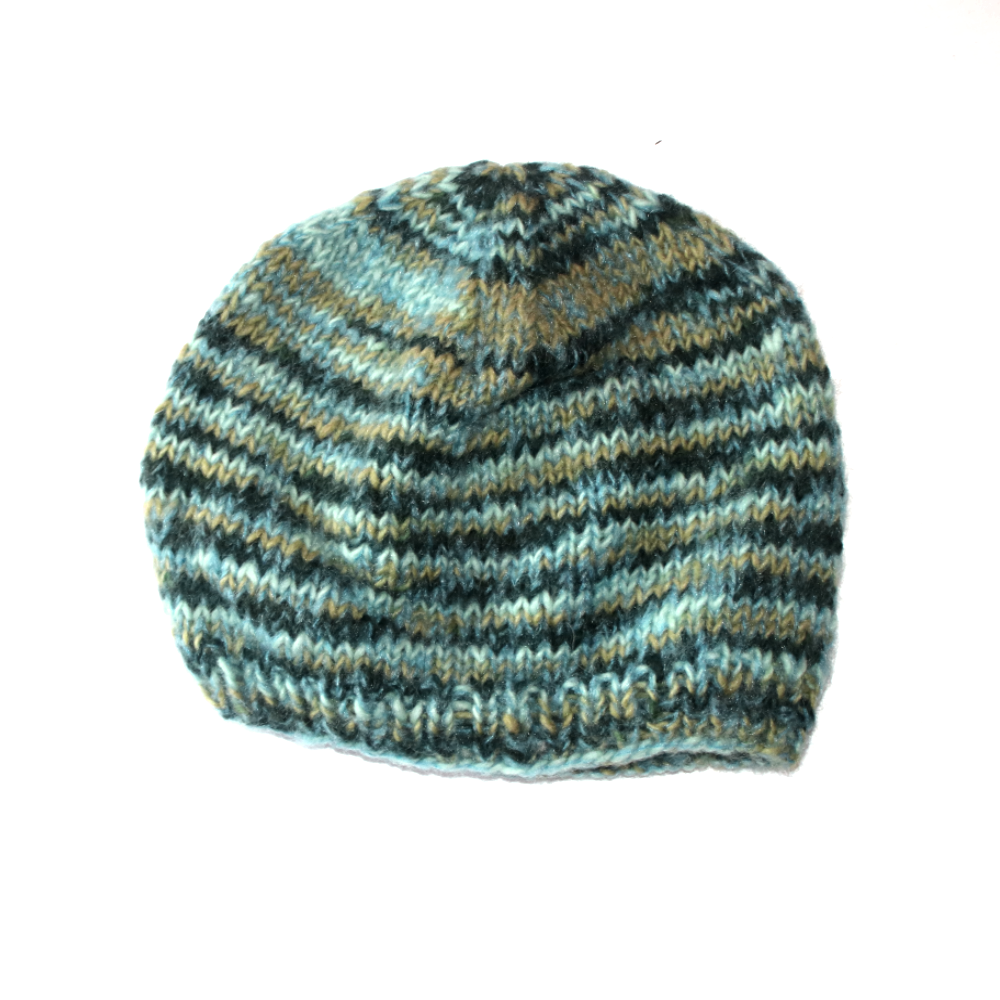 seafoam green speckled striped wool beanie hat from nepal