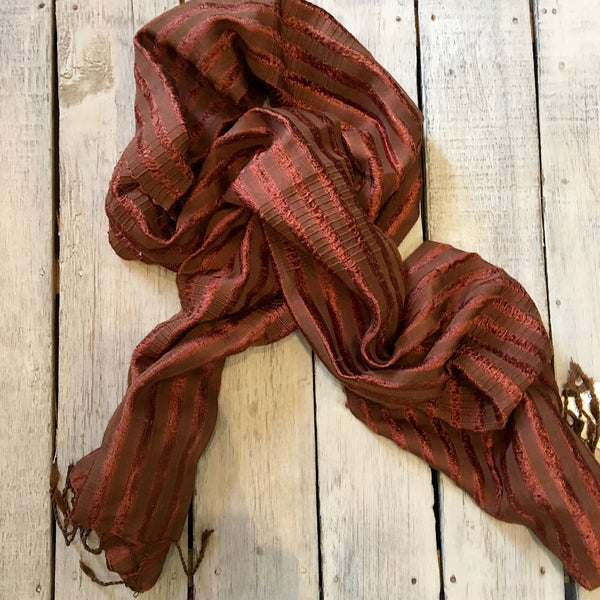 striped 100% silk scarf made in Laos and fairly traded