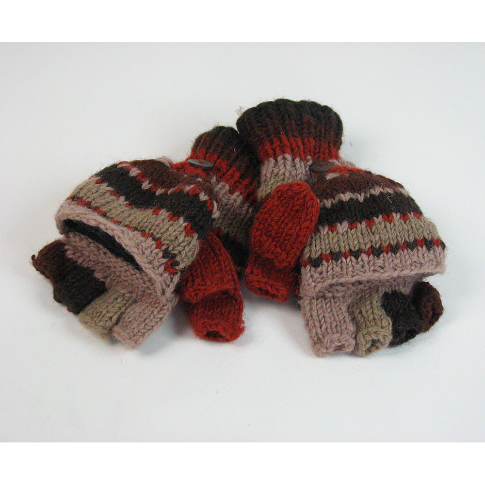 brown stripe fingerless wool gloves