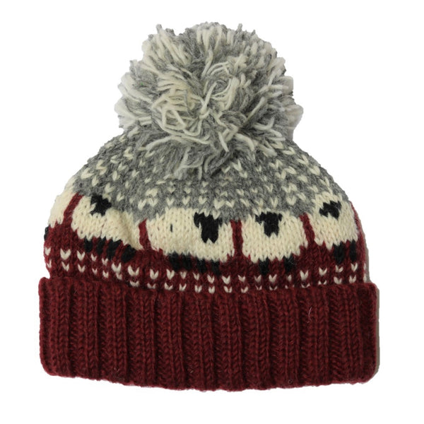 burgundy and grey wool bobble hat