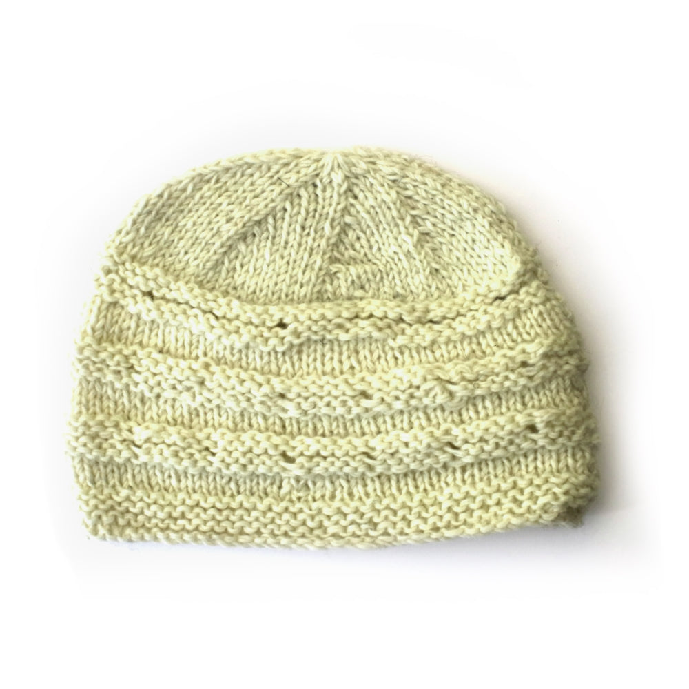 fair trade wool beanie hat in cream with contrast rib detail