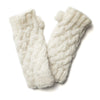 cream wool cable knit wrist warmers