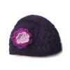 cable knit wool beanie with flower in plum colour
