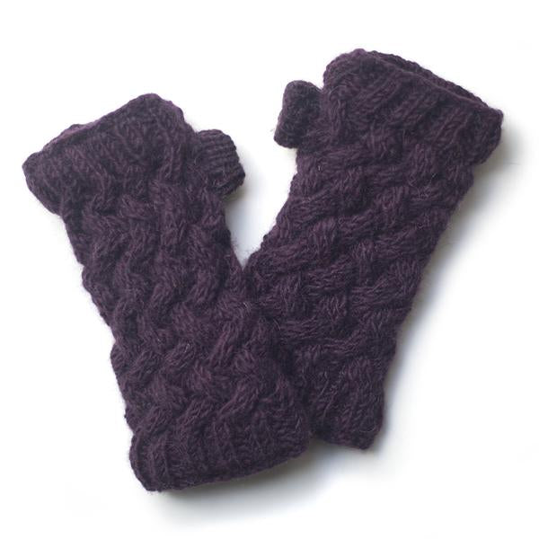 plum plait knit cable warmers