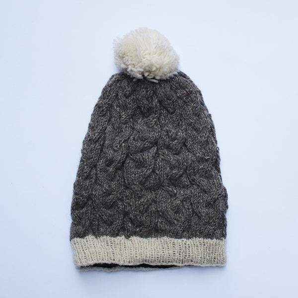 slouchy cable knit wool bobble hat