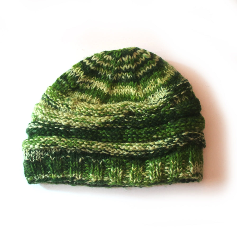 green rib knit wool beanie hat