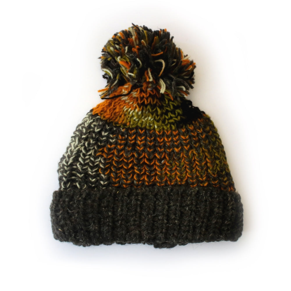 multi-tonal chunky wool bobble hat