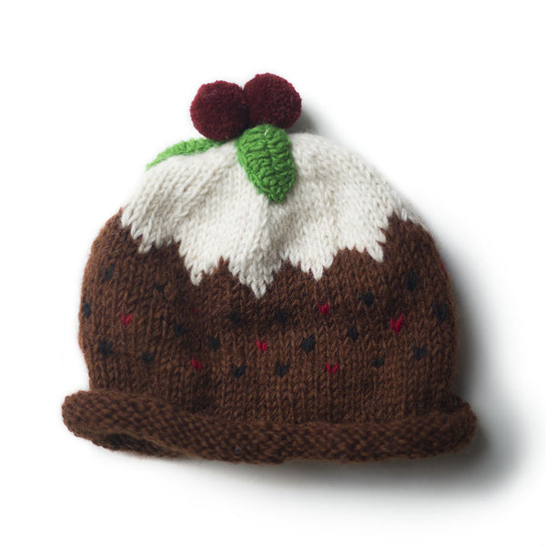 christmas festive figgy pudding wool hat