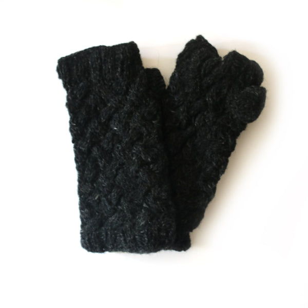 chunky criss cross cable knit wrist warmers in charcoal black