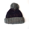 chunky knit grey bobble hat in purple
