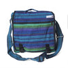 fair trade green purple colourful striped gehri cotton large expanding satchel bag from Nepal