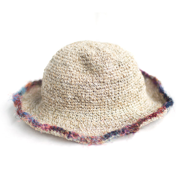 natural hemp sun hat with sari silk brim