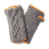 fair trade grey cable knit wool wrist warmers