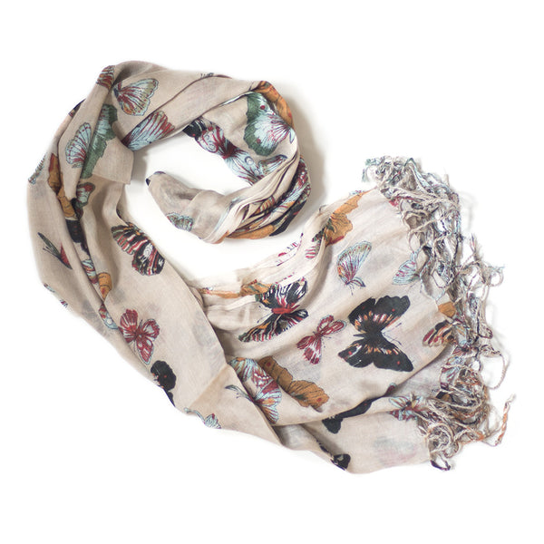 cream butterfly print scarf