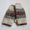 cream embroidered wool wrist warmers